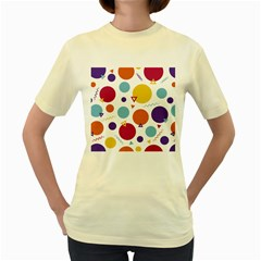 Background Polka Dot Women s Yellow T-Shirt