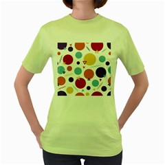 Background Polka Dot Women s Green T-Shirt