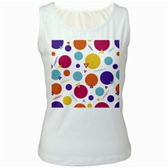 Background Polka Dot Women s White Tank Top