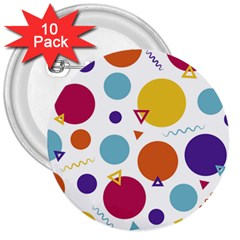 Background Polka Dot 3  Buttons (10 pack)