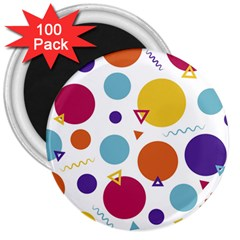 Background Polka Dot 3  Magnets (100 pack)