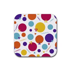 Background Polka Dot Rubber Square Coaster (4 pack)