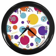 Background Polka Dot Wall Clock (Black)
