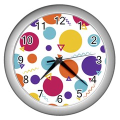 Background Polka Dot Wall Clock (Silver)