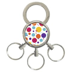 Background Polka Dot 3-Ring Key Chain