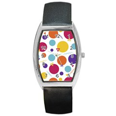 Background Polka Dot Barrel Style Metal Watch
