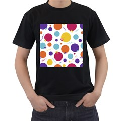 Background Polka Dot Men s T-Shirt (Black) (Two Sided)