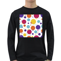 Background Polka Dot Long Sleeve Dark T-Shirt