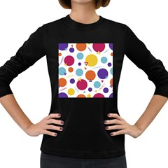 Background Polka Dot Women s Long Sleeve Dark T-Shirt