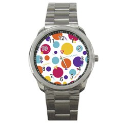 Background Polka Dot Sport Metal Watch