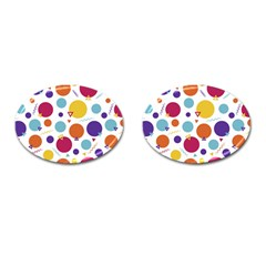 Background Polka Dot Cufflinks (Oval)