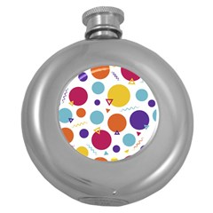 Background Polka Dot Round Hip Flask (5 oz)