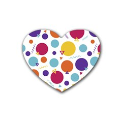 Background Polka Dot Rubber Coaster (Heart)