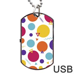 Background Polka Dot Dog Tag USB Flash (One Side)