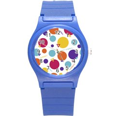 Background Polka Dot Round Plastic Sport Watch (S)