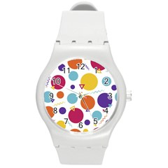 Background Polka Dot Round Plastic Sport Watch (M)