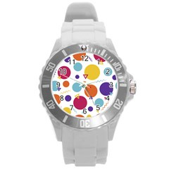 Background Polka Dot Round Plastic Sport Watch (L)