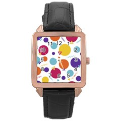 Background Polka Dot Rose Gold Leather Watch