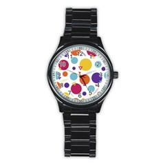 Background Polka Dot Stainless Steel Round Watch