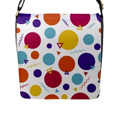 Background Polka Dot Flap Closure Messenger Bag (L)