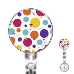 Background Polka Dot Stainless Steel Nurses Watch