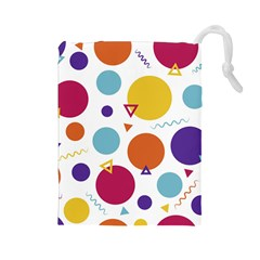 Background Polka Dot Drawstring Pouch (Large)