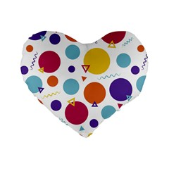Background Polka Dot Standard 16  Premium Flano Heart Shape Cushions