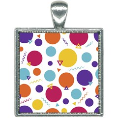 Background Polka Dot Square Necklace