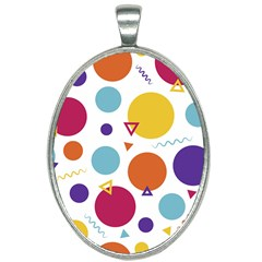 Background Polka Dot Oval Necklace