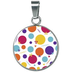 Background Polka Dot 20mm Round Necklace