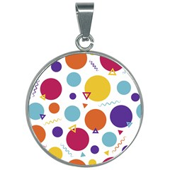Background Polka Dot 30mm Round Necklace