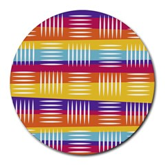 Background Line Rainbow Round Mousepads