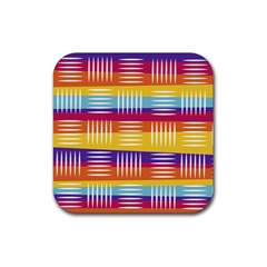 Background Line Rainbow Rubber Coaster (Square)