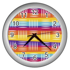 Background Line Rainbow Wall Clock (Silver)