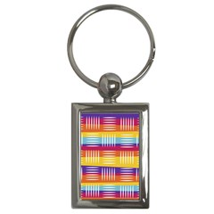 Background Line Rainbow Key Chain (Rectangle)