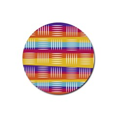 Background Line Rainbow Rubber Round Coaster (4 pack)