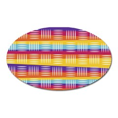 Background Line Rainbow Oval Magnet