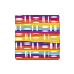 Background Line Rainbow Square Magnet