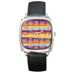 Background Line Rainbow Square Metal Watch