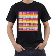 Background Line Rainbow Men s T-Shirt (Black) (Two Sided)