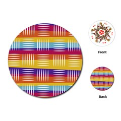 Background Line Rainbow Playing Cards (Round)