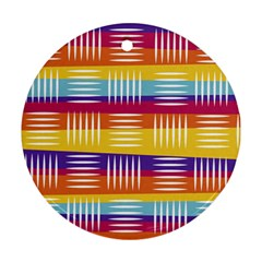 Background Line Rainbow Round Ornament (Two Sides)