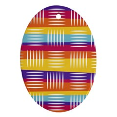 Background Line Rainbow Oval Ornament (Two Sides)