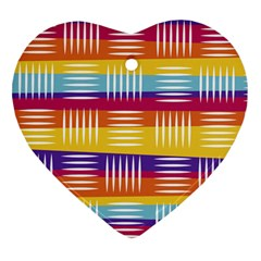 Background Line Rainbow Heart Ornament (Two Sides)