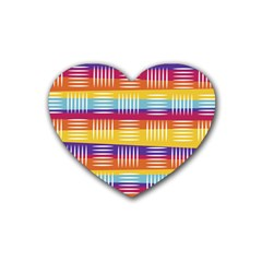 Background Line Rainbow Rubber Coaster (Heart)