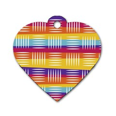 Background Line Rainbow Dog Tag Heart (One Side)