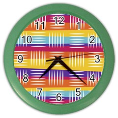 Background Line Rainbow Color Wall Clock
