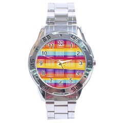 Background Line Rainbow Stainless Steel Analogue Watch