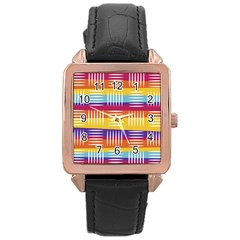 Background Line Rainbow Rose Gold Leather Watch