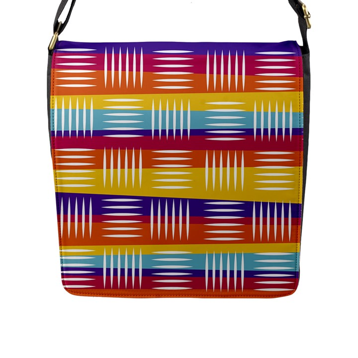 Background Line Rainbow Flap Closure Messenger Bag (L)